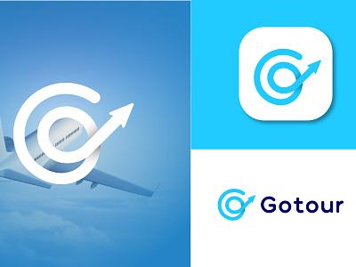 Gotour art digital art animation illustration brand identity branding design lettering go logo g logo branding app icon creative minimalist flat modern airplain logo fly graphic design logodesign logo