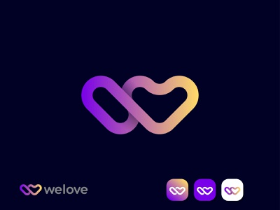 welove (w with love concept) dating site branding design app icon brand identity branding brand art logo art digital art modern creative letter mark w mark love mark heart logo mark dating logo logodesign logo