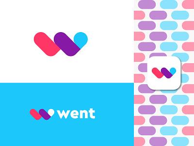 went  (w+location mark) logo design graphic design lettermark w logo went artology logoart 3d art flat brand identity branding app icon logobrand colors location w mark creative modern logo design logo