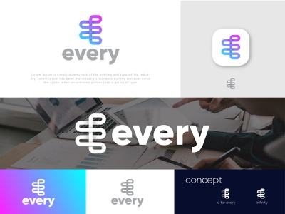 Every (e letter with infinity mark) logo designer graphic design logocreation minimalist 3d logo art art digital simple brand identity brand infinity e letter app icon modern creative logos branding logodesign logo