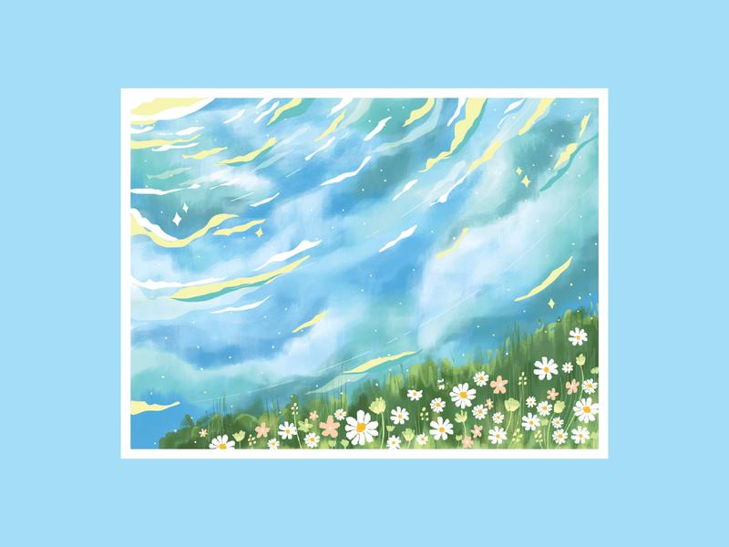 Do Nothing illustration art art flowers sky nature artwork illustration