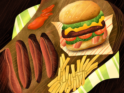 BILLION DOLLAR BURGER food app book cover design food burger art artwork illustration