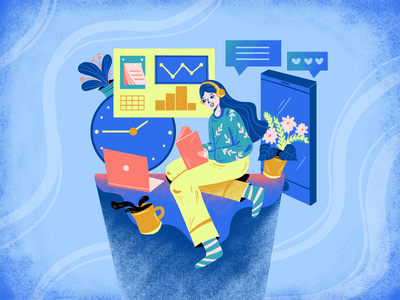 Capture your personal development journey with Habitify art character artwork illustration
