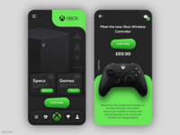 XBOX - Mobile Retail App ios android product design app app design xbox neomorphism shadows gradients gaming bahur78 uxpin uiux ui controller console ecommerce retail mobile app dark ui