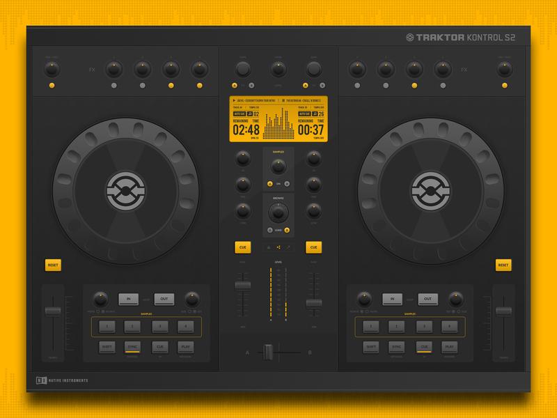 DJ Controller (Traktor Kontrol S2) - Concept bahur78 dark ui ui music app monochrome interface design interface native instruments traktor dj controller user interface userinterface software design app design appdesign app concept app