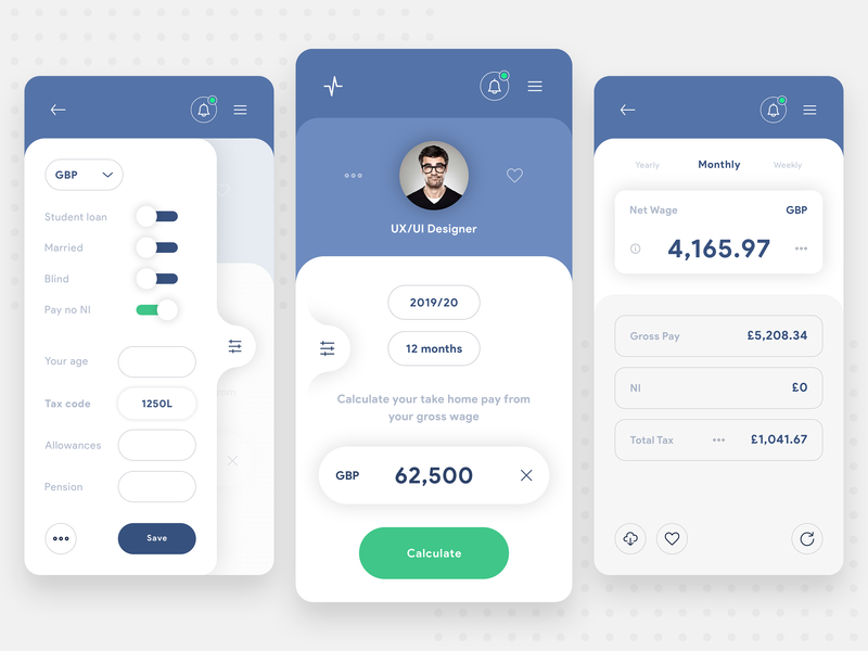 Income Tax Calculator App - Concept by Bahur78 on Dribbble