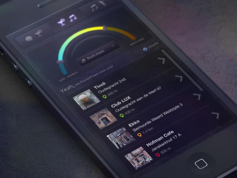 Side project: Bar Finder  mobile sketch bar app ui design