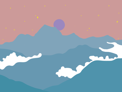 Chamonix at night pink blue clouds cloudy cloud france drawing sky stars moon night mountains mountain chamonix landscape illustration landscape design landscape illustrator design illustration