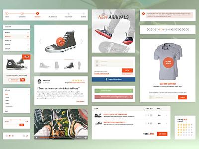 E-commerce UI Kit flat checkout facebook login rating cart video kit ui ui kit e-commerce web