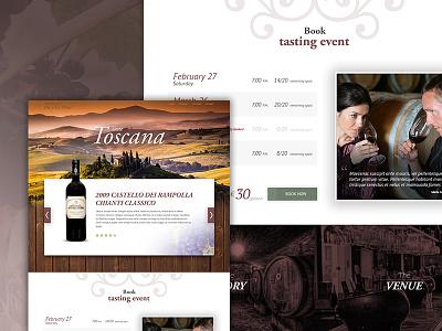 Wine Tasting event booking book wine tasting web