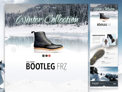 Winter Collection campaign site web clothing footwear boots marketing campaign winter fashion shop shoes