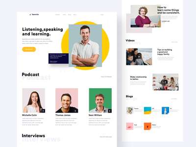 SpeakUp - Landing Page clean neat website design paperpillar bukalapak gojek web design design people podcast spotify america europe website webdesign app ux uidesign ui indonesia designer