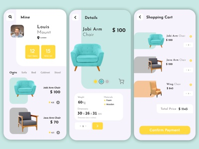 Mobile Furniture App & Mobile App Development furniture store furniture app furniture application uidesign design app design ux ui indonesia designer europe illustration app