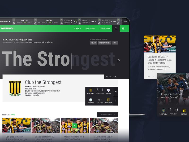 Conmebol Website football futbol search component desktop web ux ui soccer
