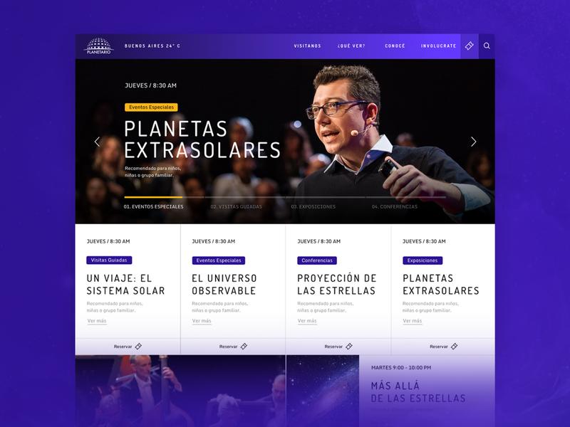 Galileo Galilei Buenos Aires Planetarium ixd component hero ui ux desktop website