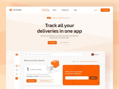 📦 Parcel Tracker Web Application Landingpage landingpage modules fintory dashboard webapp web ux ui interface design clean ui