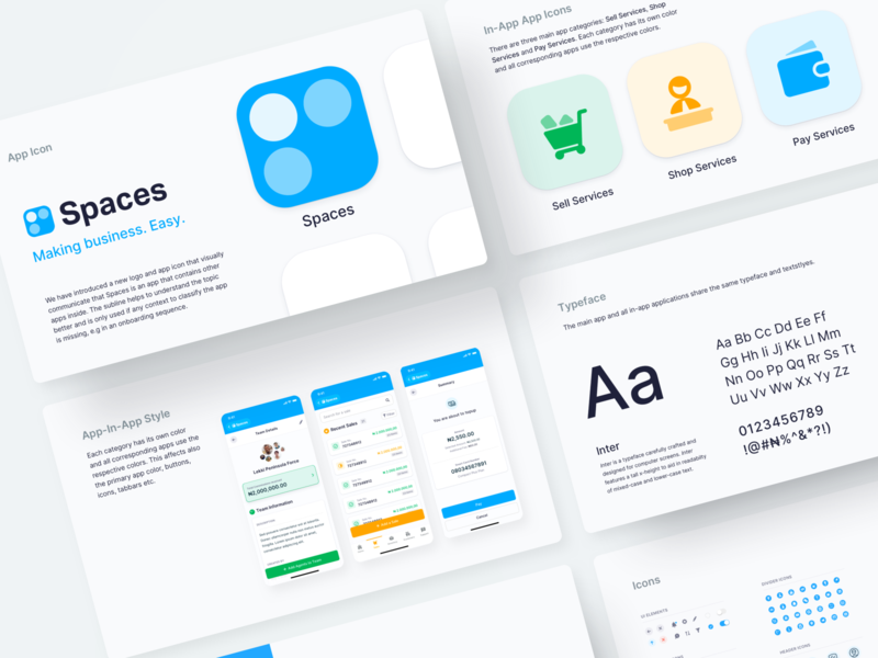 Spaces App Logo and Styleguide 💎 styleguide logo app app design modules fintory ui ux interface design clean ui