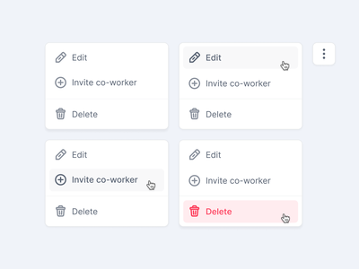 Ui Detail ✨ Context menu with destructive action hover state hover state menu webapp web app design modules ui fintory interface design clean ui