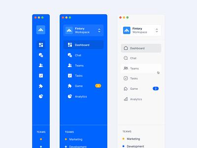 Sidebar Navigation Exploration ✨ navigation sidebar ui design clean ui web ux interface fintory