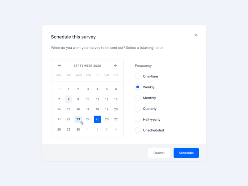 Scheduling a survey 🗓✍️ date calender survey fintory interface design clean ui