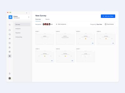 Survey Editing Flow Animation 🗒 🖋 flow animation drag and drop cards desktop webapp app design ux ui fintory interface clean ui