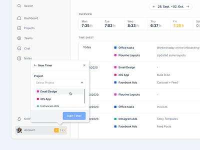 Time Tracking Feature ⏱ design desktop productdesign application webapp app design ux ui fintory interface clean ui