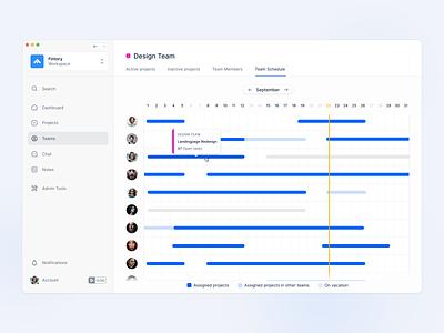 💪 Team Management and Booking Overview team application app design webapp desktop ui ux fintory design management tool