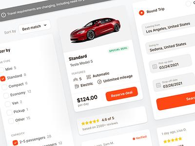 🚙 Car Rental Components ui  ux design ui elements web app webapp desktop ui ux interface fintory design clean ui
