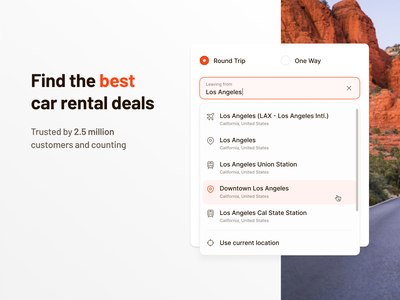 🚙🌎 Car Rental Homepage and Search Bar inputs search bar landing page desktop ui ux interface fintory design clean ui