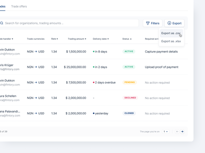 🏦 Trades Overview List data heavy table list dashboard desktop ux ui interface fintory design clean ui