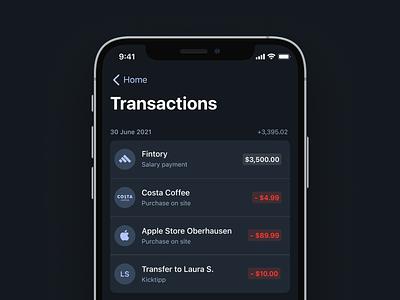 💵 Transactions Overview + Detailview transactions finance light mode dark mode action sheet ios app ux interface fintory design clean ui