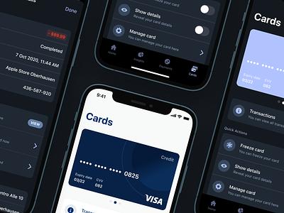 Finance App Cards Overview 💳 light mode dark mode ux ui interface fintory design clean ui