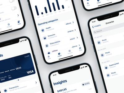 Spending insights and analytics 💸 modules finance ios app ux ui interface fintory design clean ui
