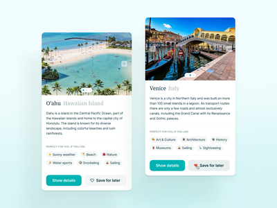 Travel and vacation advisor 🏝 travel cards vacation branding desktop ux ui interface fintory design clean ui