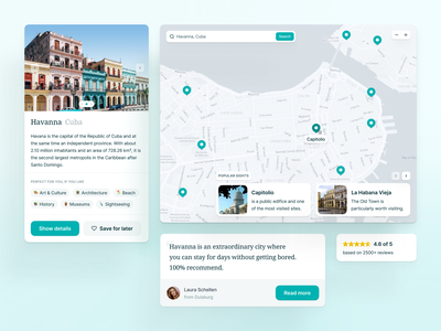 🏝 Travel and Vacation Components testimonial ratings map travel components vacation desktop ui ux interface fintory design clean ui