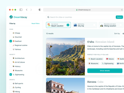 🏝 Vacation Search Result Page emojis tags filter search vacation search result desktop ux ui interface fintory design clean ui