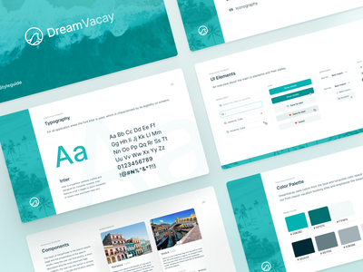 Vacation finder style guide 💎 brand presentation colors font typeface type components styleguide style guide branding desktop ux ui interface fintory design clean ui