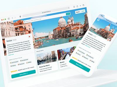 ⚓️ Travel Homepage Exploration product detail landing page website mobile homepage branding logo desktop ux ui interface fintory design clean ui