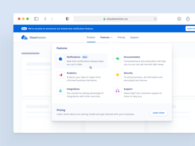 Flyout-Menu ✨ navigation landingpage icons hover states dropdown menu flyout menu desktop ui ux interface fintory design clean ui