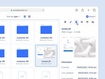 Cloud Storage Exploration ✨ logo web webapp media browser explorer slim navigation folder structure finder cloud desktop ux ui interface fintory design clean ui