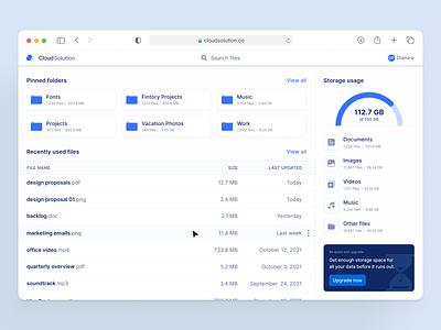 Cloud Storage Dashboard 📂 charts lists folders overview dashboard desktop ux ui interface fintory design clean ui