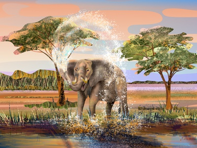 Elephant is taking a shower 💦🐘 poster art digital artwork digital illustration landscape illustration landscape savannah elephant african animals africa travel illustration childrens illustration children book illustration bookillustration mural design textures flat illustration vector illustration digital painting digital art illustration