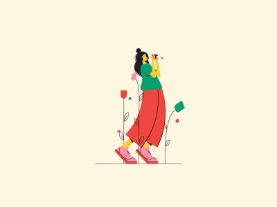 Captures the moment cute woman flat illustration character illustration
