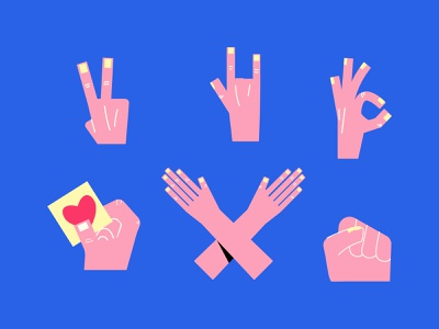 Hands, hands and hands... stickers summer flat fingers crossed vector illustration