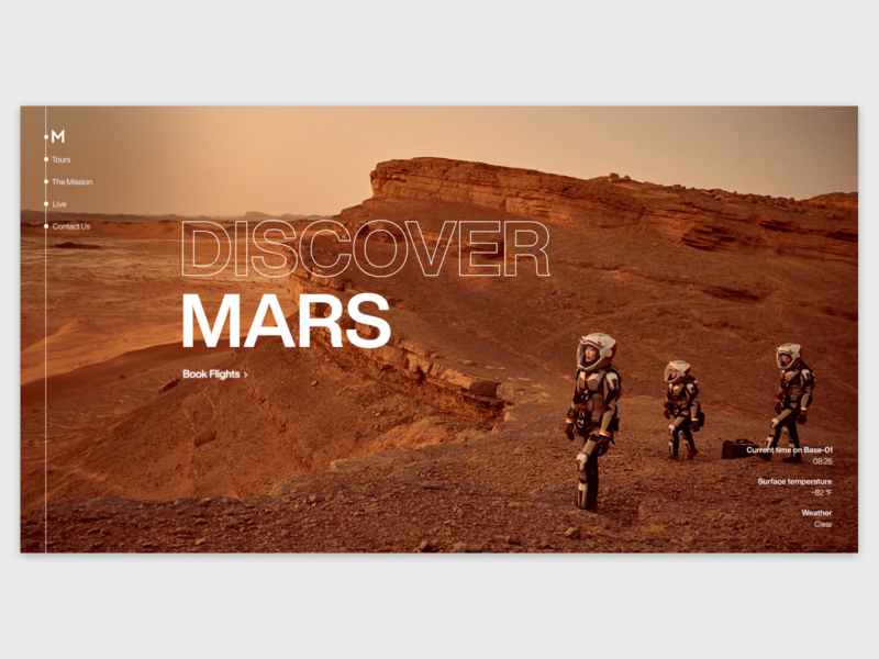 Mars Travel Landing moon mars space tourism travel web website webdesign ux ui landing