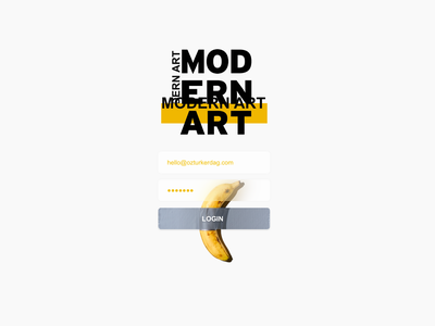 Modern Art Login - Maurizio Cattelan's Banana #6 comedian responsive minimal modernism login design sign in artwork login design adobe mobile modern banana art dailyui ui adobexd