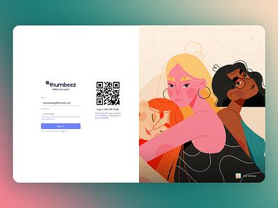 Simple Elegant - Login Page wit QR desktop app web app web design design branding app 3d 2d logo vector minimal illustration ux ui sketch adobe xd adobexd
