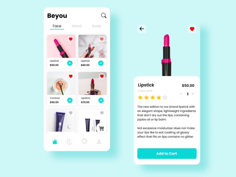 Beyou - Beauty app mobile design cosmetic uidesign ui app beauty app beauty