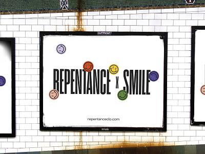 REPENTANCE x SMILE Billboard flat minimal typography shape illustration icon vector logo branding design