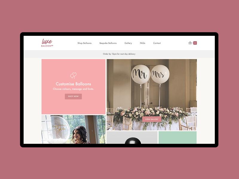 Luxe Balloons bespoke simple minimal landing home shop san serif website ux ui